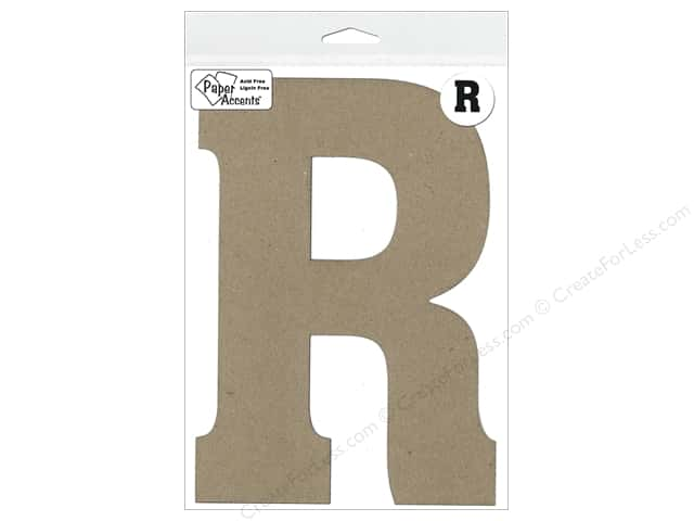 "Paper Accents Chipboard Shape Letter ""R"" 8 in. 1 pc. Kraft"