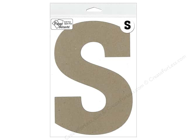 "Paper Accents Chipboard Shape Letter ""S"" 8 in. 1 pc. Kraft"