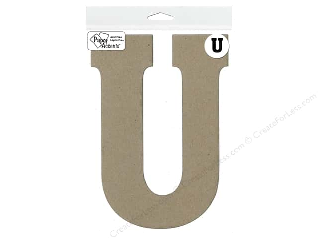 "Paper Accents Chipboard Shape Letter ""U"" 8 in. 1 pc. Kraft"
