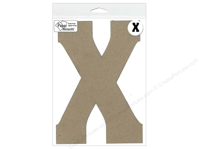 "Paper Accents Chipboard Shape Letter ""X"" 8 in. 1 pc. Kraft"