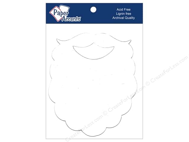 Paper Accents Chipboard Shape Santa Beard 6 in. 4 pc. White