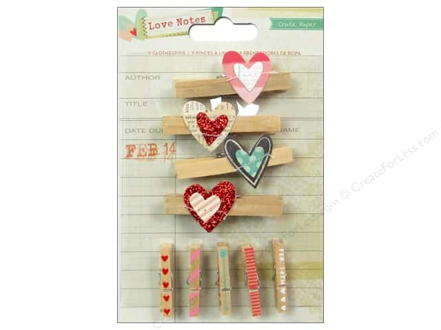 Crate Paper Embellishments Love Notes Clothespins