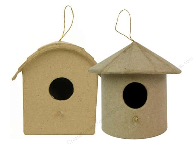 Paper Mache Birdhouse Ornament Round Roof by Craft Pedlars (3 pieces)