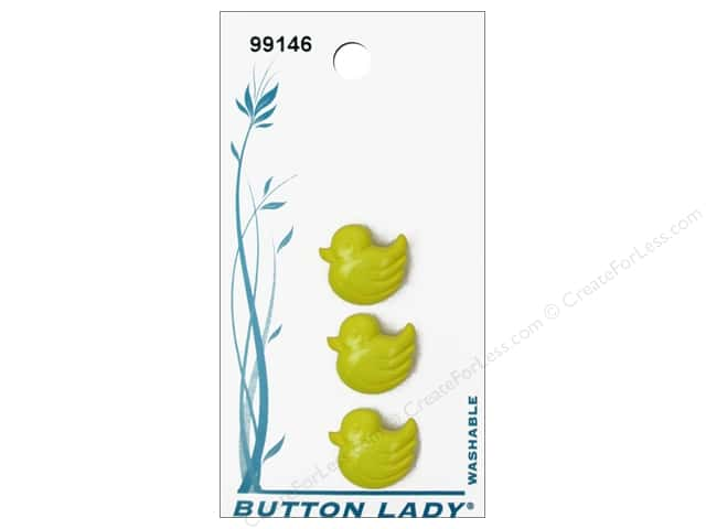 JHB Button Lady Buttons 1/2 in. Yellow Baby Duck #99146 3 pc.