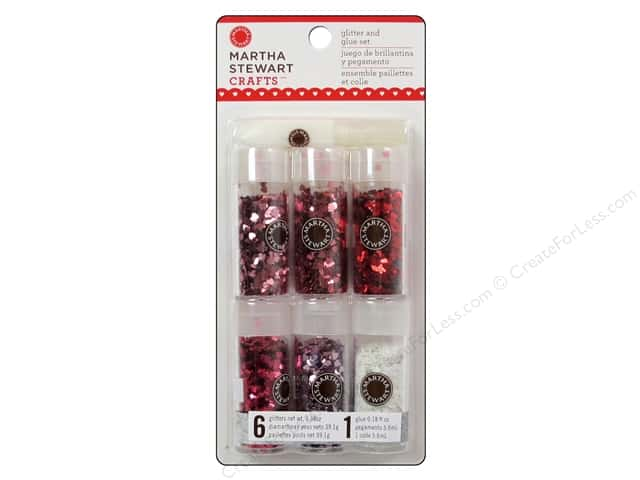 Martha Stewart Glitter Valentine Metallic Heart 6pc
