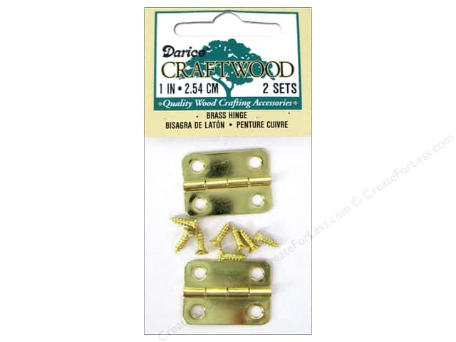 "Darice Hardware Craftwood Hinge 1"" Brass 2 Set"