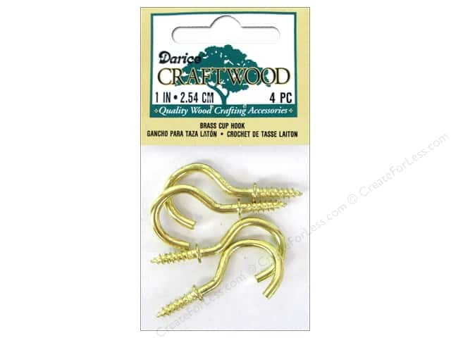 Darice Cup Hook 1 in. Brass 4 pc.
