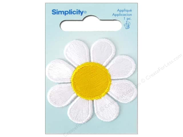 Simplicity Iron On Applique White & Yellow Daisy