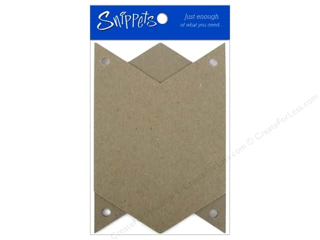 Paper Accents Chipboard Pennants 4 x 6 in. Chevron 3 pc. Kraft (3 pieces)