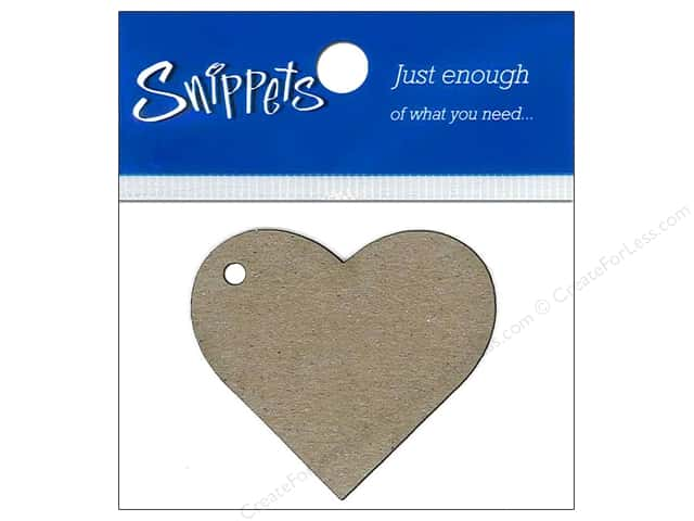 Paper Accents Chipboard Shape Heart Tag 4 pc. Kraft (3 pieces)