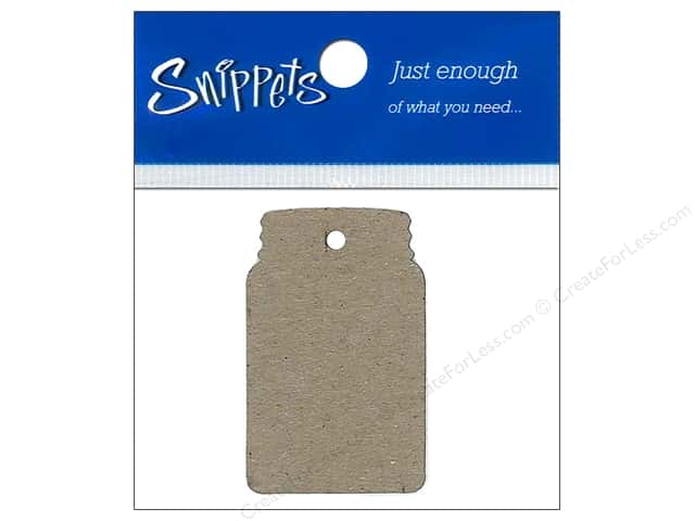 Paper Accents Chipboard Shape Canning Jar Tag 4 pc. Kraft