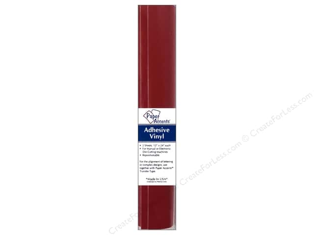 Paper Accents Adhesive Vinyl 12 x 24 in. Removable Dark Red 2 pc.