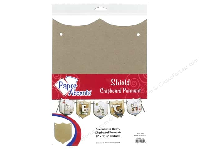 Paper Accents Chipboard Pennants 8 x 10 1/2  in. Shield 7 pc. Kraft