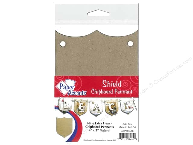 Paper Accents Chipboard Pennants 4 x 5 in. Shield 9 pc. Kraft