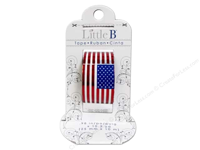 Little B Decorative Paper Tape 1 in. Foil Flag Red