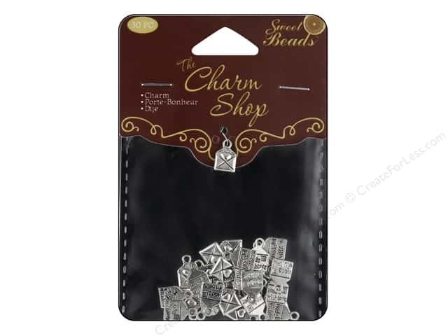 Sweet Beads Charm Shop Charm Metal Letter Silver 30pc