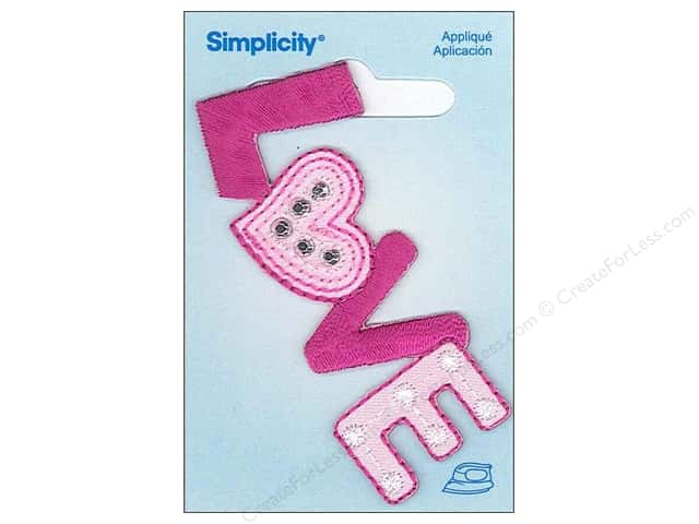Simplicity Iron On Applique Large Love