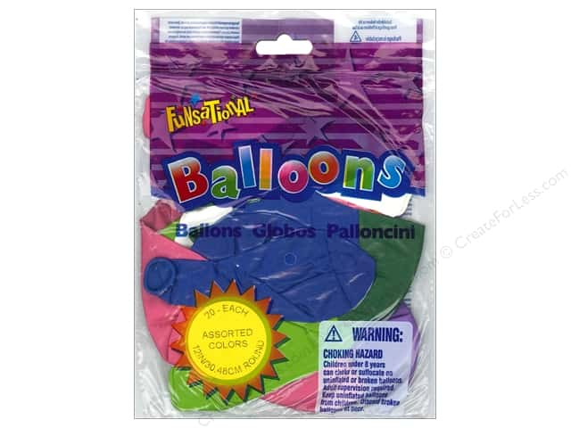 "Pioneer National Latex Balloons Funsational 12"" Assorted 20pc"
