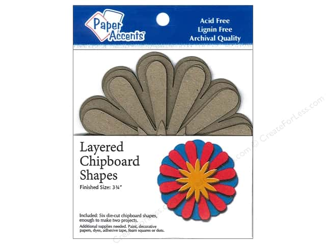 Paper Accents Layered Chipboard Shapes Sunflower 6 pc. Kraft