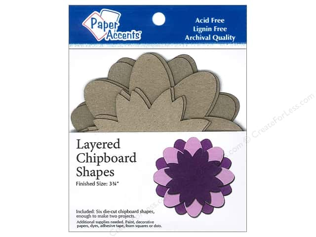 Paper Accents Chipboard Shape Layered Flower 6 pc. Kraft