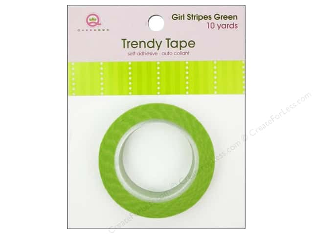 Queen&Co Trendy Tape 10yd Girl Stripes Green
