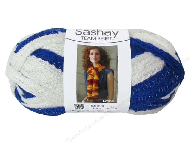 Red Heart Boutique Sashay Team Spirit Yarn 3.5 oz. Royal/White