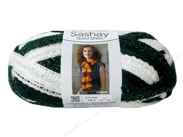 Red Heart Boutique Sashay Team Spirit Yarn #1988 Green/White 30 yd.