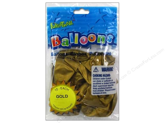 "Pioneer National Latex Balloons Funsational Deco 12"" 10pc Metallic Gold"