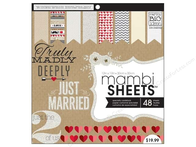 "Me&My Big Ideas Sheets Cardstock Pad 12""x 12"" Kraft Wedding"