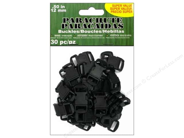 Pepperell Parachute Cord Accessories Buckle 1/2 in. Black 30pc