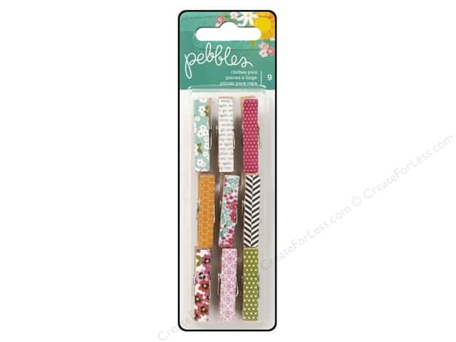 Pebbles Embellishment Garden Party Clothespins Printed