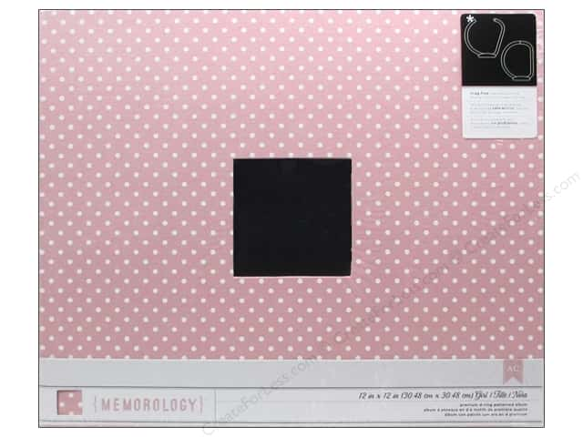 Pebbles 3-Ring Album 12 x 12 in. Special Delivery Girl Cloth Pink with White Dots