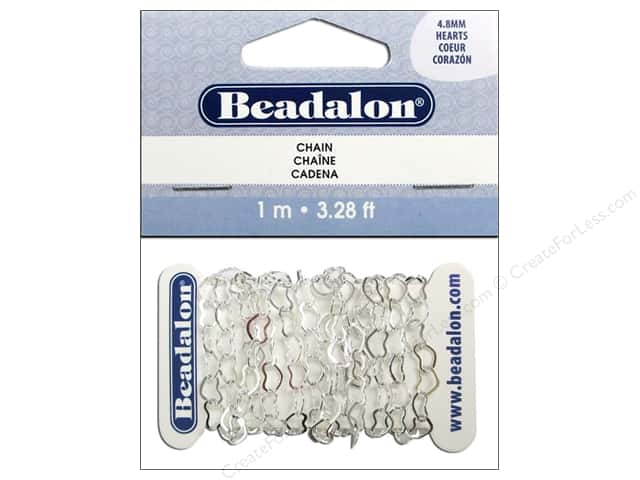 Beadalon Heart Cable Chain 4.8 mm Silver 3.28 ft.