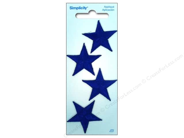 Simplicity Iron On Applique Small Blue Stars