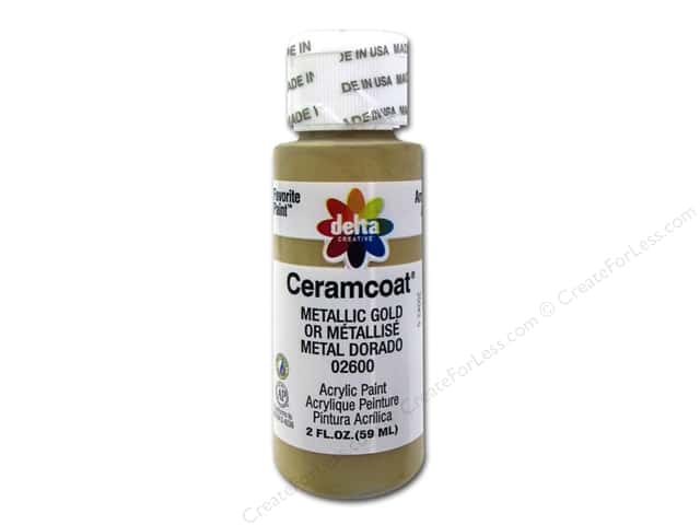 Ceramcoat Acrylic Paint by Delta 2 oz. #2600 Metallic Gold