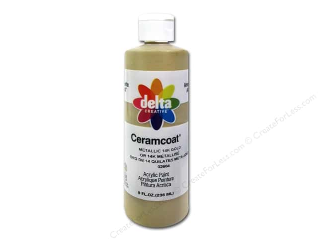Ceramcoat Acrylic Paint by Delta 8 oz.  #2604 Metallic 14K Gold