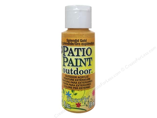 DecoArt Patio Paint Outdoor Acrylic Paint 2 oz. #84 Splendid Gold