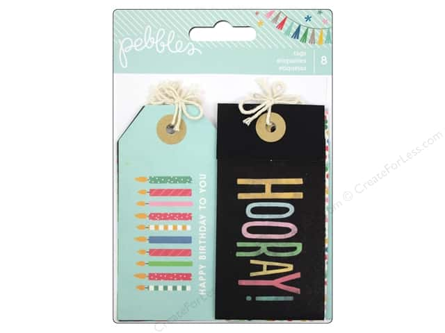 Pebbles Embellishment Birthday Wishes Tags