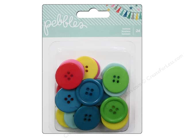 Pebbles Embellishment Birthday Wishes Buttons