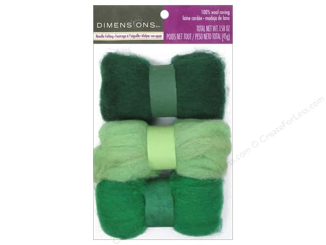 Dimensions 100% Wool Roving Trio Greens