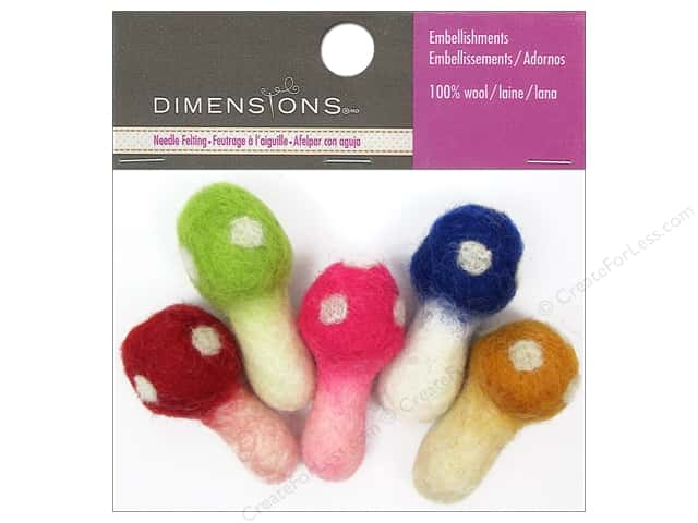 Dimensions 100% Wool Felt Embellishment Mushrooms