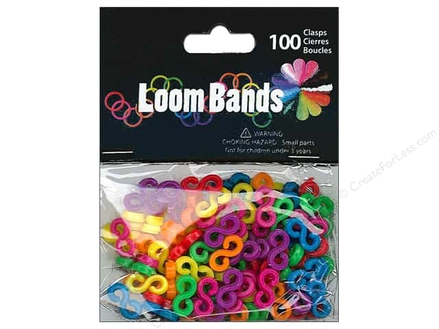 Midwest Design Loom Band S Clasp Multi 100pc