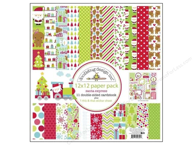 "Doodlebug Santa Express Collection Paper Pack 12""x 12"""