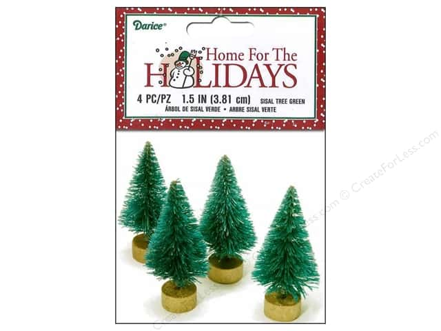 Darice Sisal Tree 1 1/2 in. Green Christmas 4 pc.