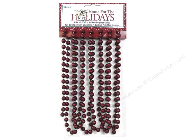 Darice Decor Holiday Garland Bead 8mm Matte Burgundy 9ft