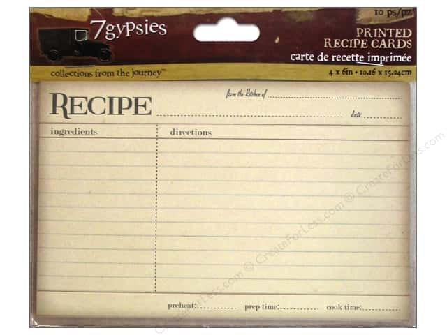 7 Gypsies Printed Recipe Cards 10 pc. Vintage
