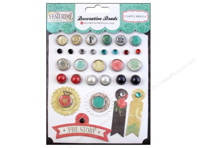 Carta Bella Decorative Brads Yesterday 29 pc.