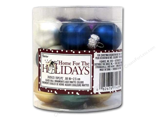 Darice Decor Holiday Ornament 25mm Matte Assorted