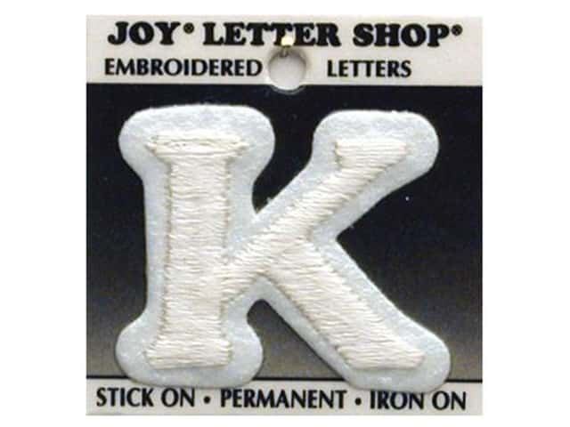 iron on monogram letters iron on letter quot k quot embroidered 1 1 2 in white 22599