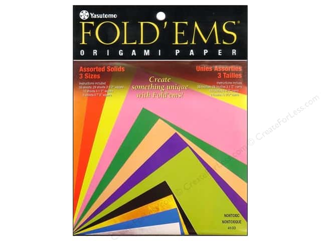 Yasutomo Fold Ems Origami Paper Assorted Size 55 Pc Solid Small
